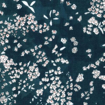 Nani Iro Teal Floral Double Gauze