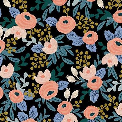 Garden Party Rosa Black Linen/Cotton Blend