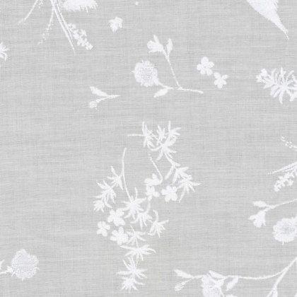 Nani Iro Cotton/ Silk Birds Sparkle White on Light Gray