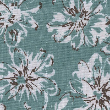Turquoise Floral Linen/Cotton Sheeting