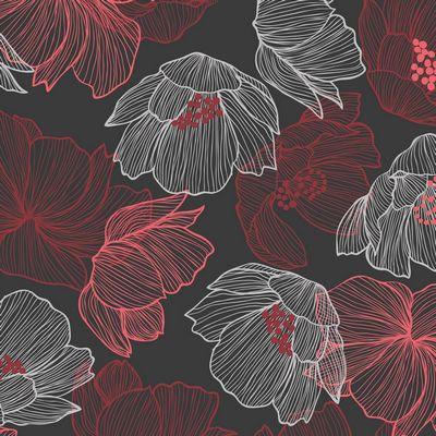 Avalana Jersey Knit/Flowers Dark Red