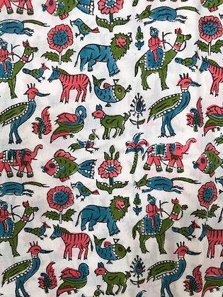 Indian Block Print Cotton Lawn Animals