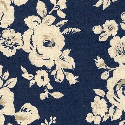 Kokka Cotton/Linen Sheeting Blue Floral