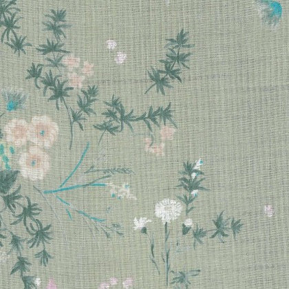 Nani Iro Birds and Floral Gray Double Gauze