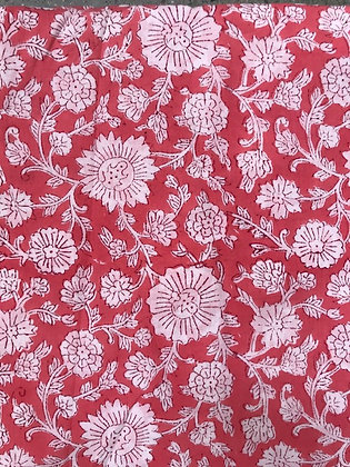 Indian Block Print Cotton Lawn White Floral on Pink