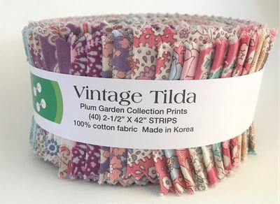 Tilda Plum Garden Fabric Strips