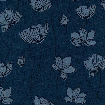 Blue Floral Linen/Cotton Sheeting