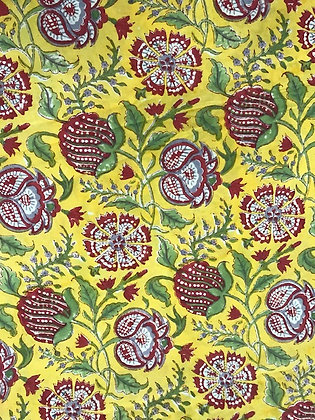 Indian Block Print Cotton Lawn Pink Floral on  Yellow