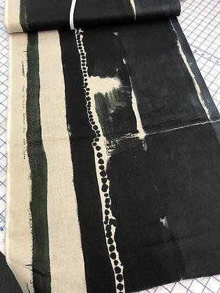 Nani Iro Linen Blocky Stripe Black and Navy