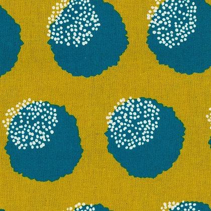 Kokyka Lime and Teal Dots Linen/Cotton Canvas