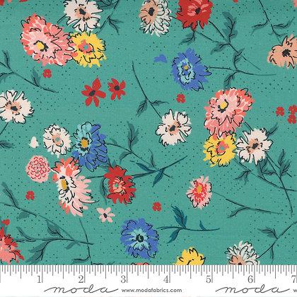 Lady Bird Medium Floral  Teal