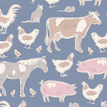 Tilda Tiny Farm Animal Blue