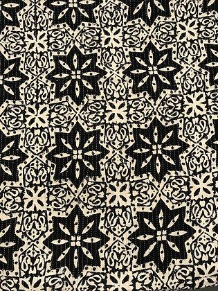 Indian Block Print Cotton Lawn Black and White Sashiko Stitch