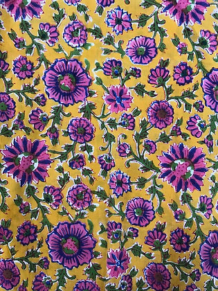 Indian Block Print Cotton Lawn Purple Floral on Yellow