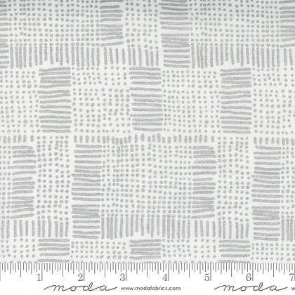 Whispers Metallic Silver on White Lines