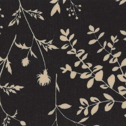 Black and Cream Floral Linen/Cotton Sheeting