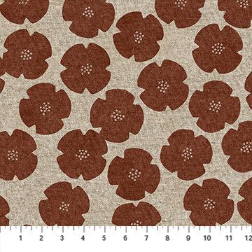 Harmony Rust Floral Linen/Cotton Canvas