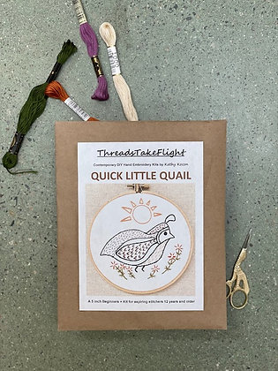 Quick Little Quail Embroidery Kit Made in New Mexico