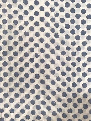 Indian Block Print Cotton Lawn Gray Dot