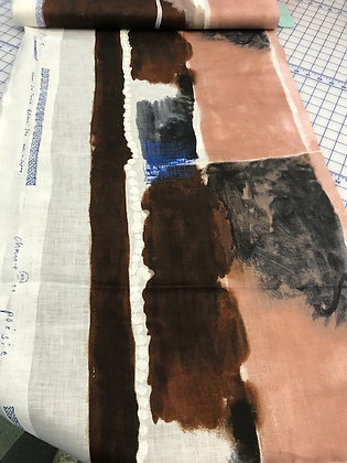 Nani Iro Linen Blocky Stripe Brown and Blush