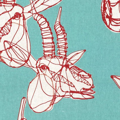 Hayu Egxa Blue/ Red Deer Linen/Cotton Canvas