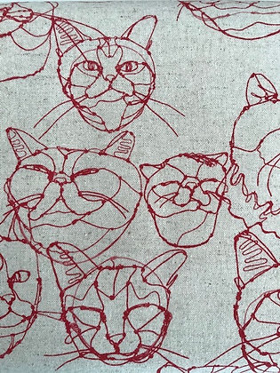 Hayu Egxa Red Cat Linen/Cotton Canvas