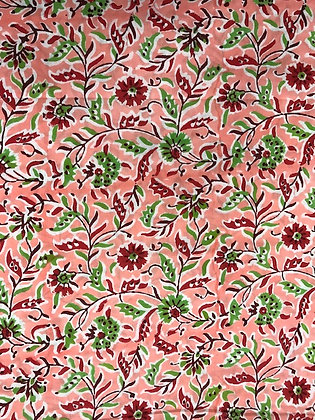 Indian Block Print Cotton Lawn Red Floral on Pink