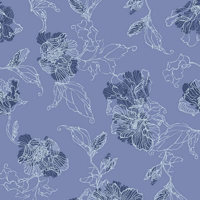 Avalana Terrycloth Flowers Lines Blue
