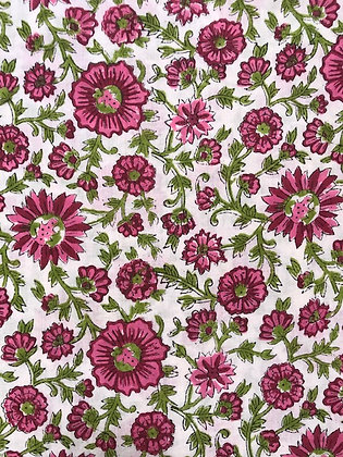 Indian Block Print Cotton Lawn Pink Floral on White