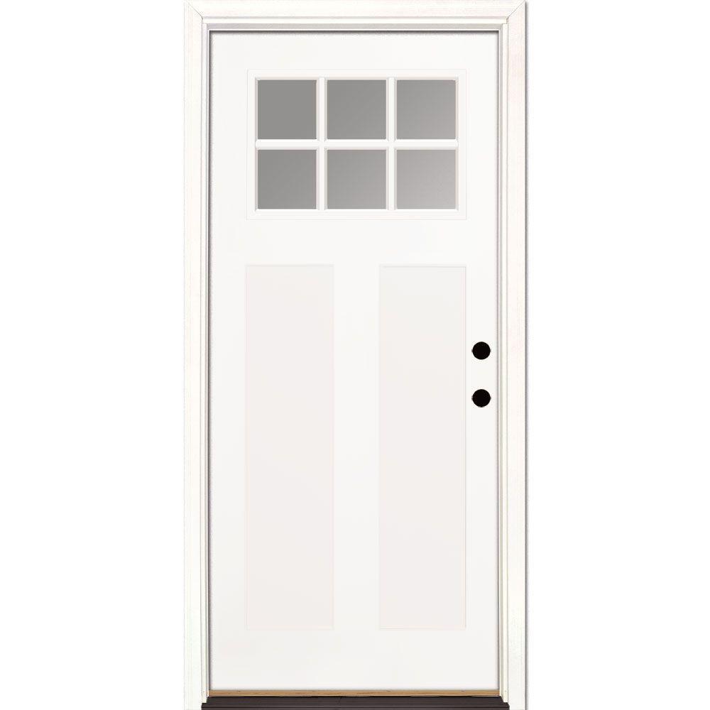Steel, 2-panel, pre-hung, 6-window entry door