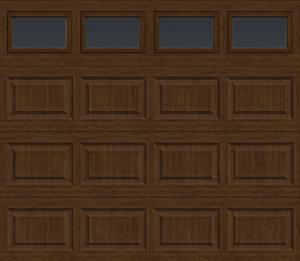 Single, wood-look, steel, insulated garage door