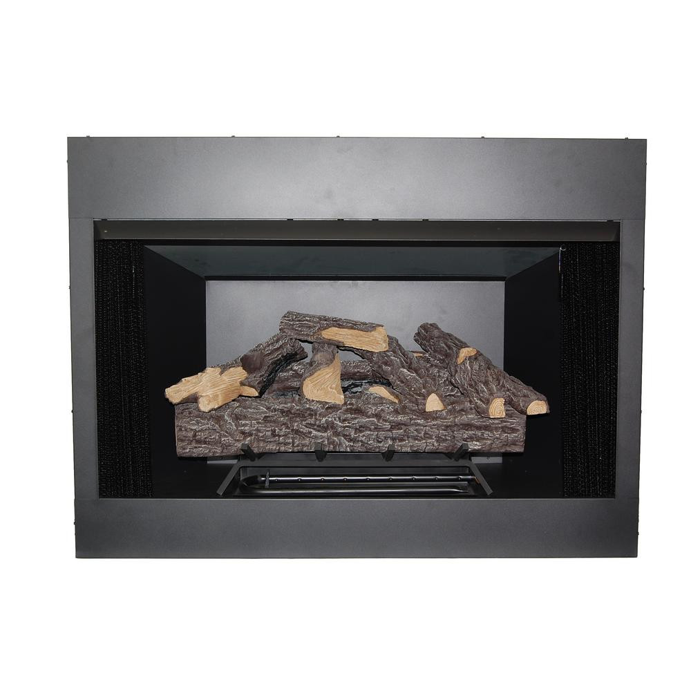 Black Metal Gas Firebox Insert w/Logs