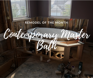 Master Bathroom in the Middle of Construction, showing bathtub with framing