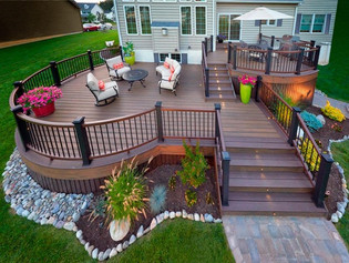 A Multi-level Deck May be your Solution to a Sloped Yard for Beautiful & Useful Outdoor Living Space