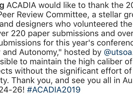 """Martin Summers Serves as ACADIA 2019 """"Scientific Committee Reviewer"""""""