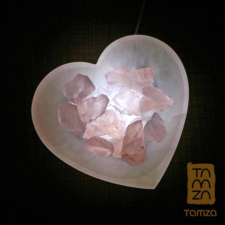 Selenite Rose Quartz Lamp