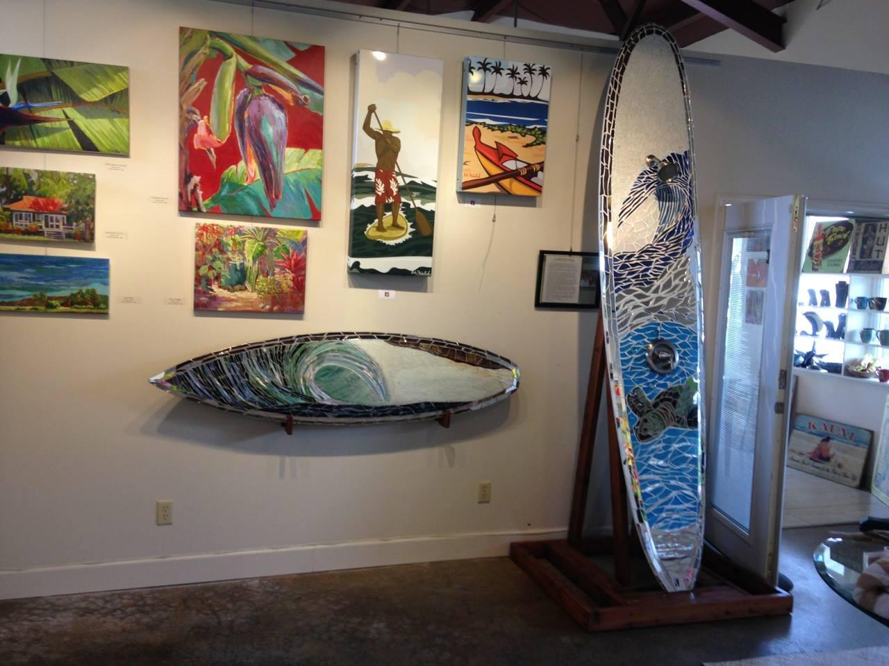 Mosaic Surfboard Shower and Wall Art