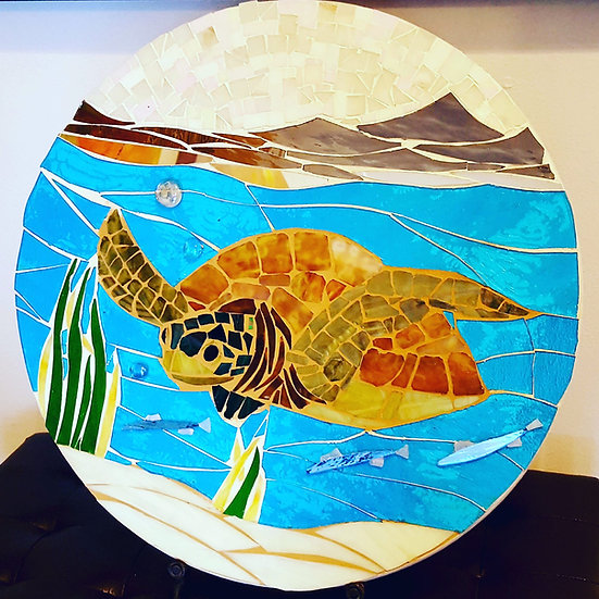 Stained Glass Mosaic Honu