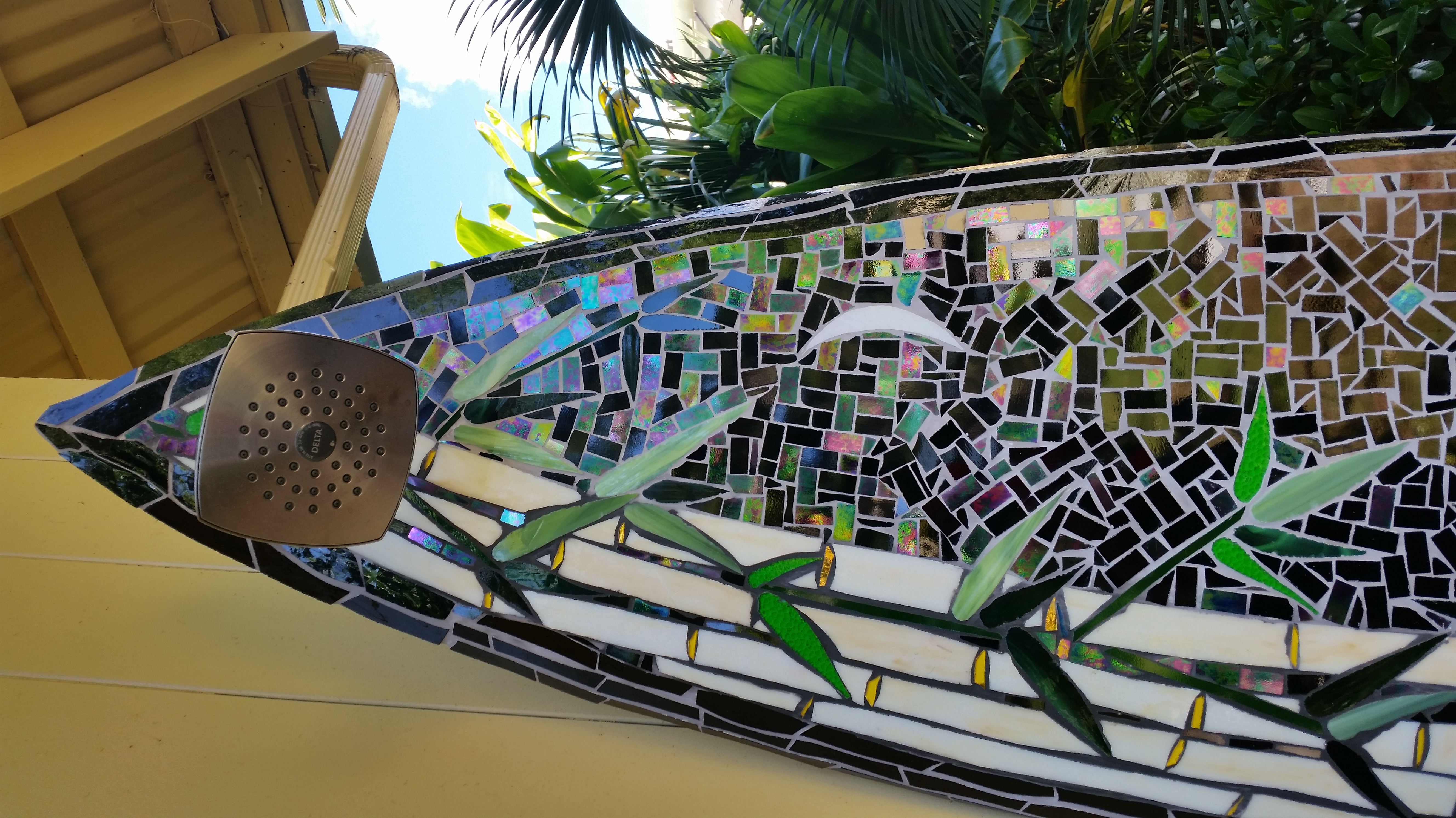 Shower Head On Mosaic Surfboard