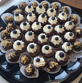 Brownie Bites with Whipped Cream and Blueberry and Chocolate Cake Bites