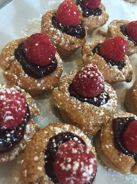 Jam Filled Oat Muffins with Fresh Berry