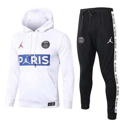Tuta Rappresentanza con Cappuccio PSG Jordan - White/Black