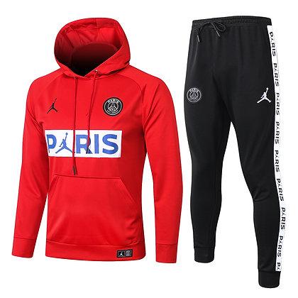 Tuta Rappresentanza con Cappuccio PSG Jordan - Red/Black