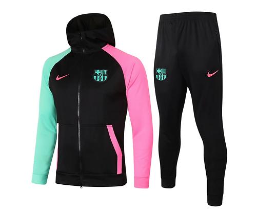 Tuta Fleece Black Barcellona - Green/Pink