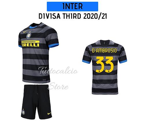 Divisa Third  Inter 20/21 - D'AMBROSIO - SIZE M