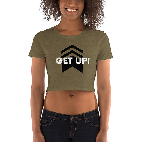 Women's Army Green Crop Tee