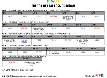 FREE 30 DAY FAT LOSS PROGRAM