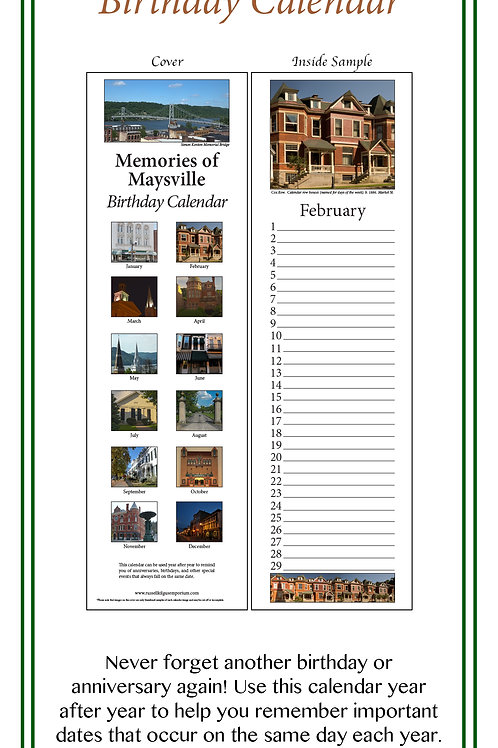 Memories of Maysville Birthday Calendar