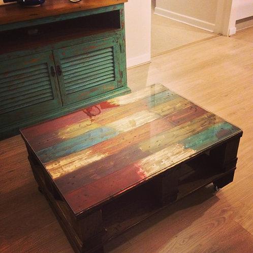 Mesa de Centro Wood Multicolor con vidrio