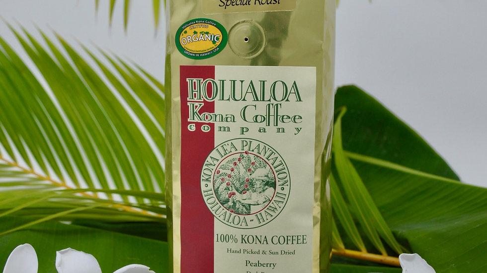 Certified Organic Peaberry 100% Kona Coffee 1 lb
